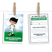 6 cartes et enveloppes invitation anniversaire Thème foot - Oliv et Tom