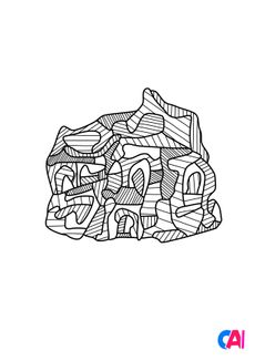 Coloriage Eglise II - Jean Dubuffet