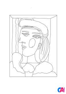 Coloriage Femme au béret mauve - Pablo Picasso