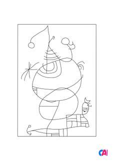 Coloriage Femme, oiseau, étoile - Joan Miró