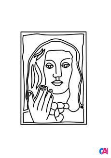 Coloriage Fernand Léger - Visage à la main sur fond rouge