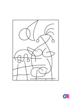 Coloriage Joan Miró - L'Étreinte du soleil à l'amoureuse