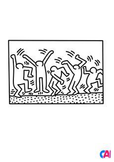Coloriage Keith Haring - La vie est une fête