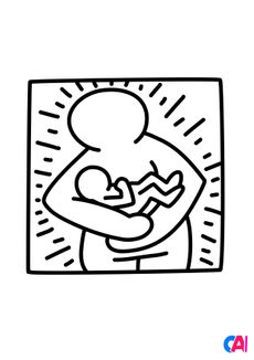 Coloriage Keith Haring - Mother and baby
