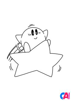 Coloriage Kirby prend son envol sur l'étoile