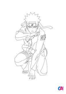 Coloriage Naruto prêt au combat