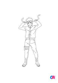Coloriage Naruto se prépare