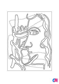 Coloriage Profil à la Fleur. Two Women - Fernand Léger