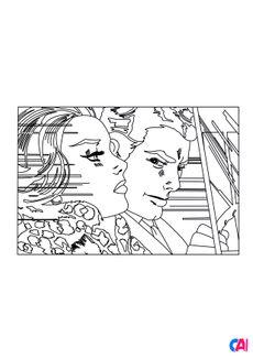 Coloriage Roy Lichtenstein - In the Car