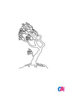 Coloriage Un arbre mort dans la tempête