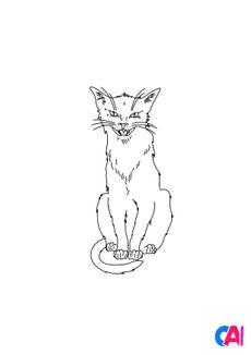 Coloriage Un chat noir terrifiant