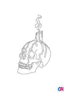 Coloriage Une bougie sur un crâne