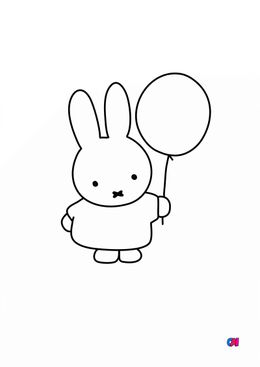 Coloriage Miffy - Miffy et son ballon