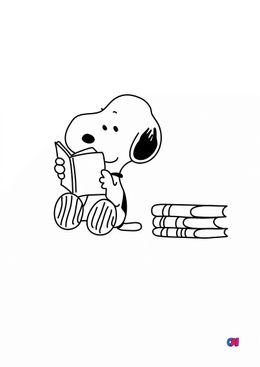 Coloriage Snoopy - Snoopy lit