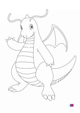 Coloriage Pokémon - 149 - Dracolosse