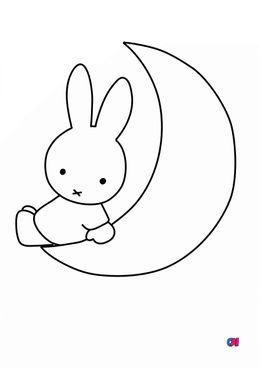 Coloriage Miffy - Miffy et la lune