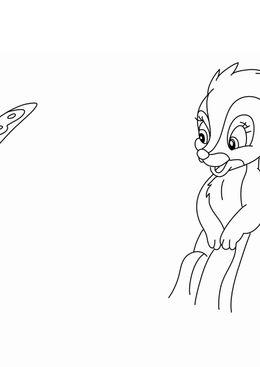 Coloriage Bambi - Le putois et le papillion