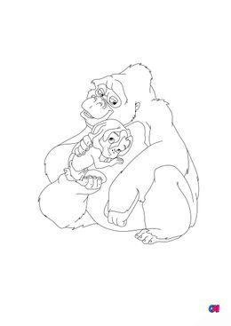Coloriage de Tarzan - Tarzan et le gorille