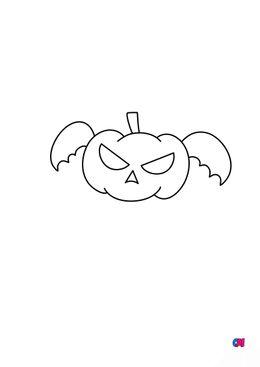 Coloriages Halloween - Citrouille volante