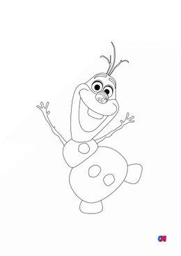 Coloriage la reine des neiges - Olaf saluant