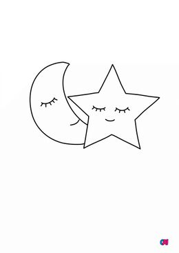 Mes premiers coloriages - Lune et étoile