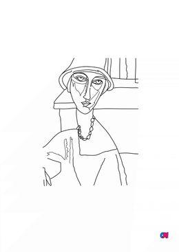 Coloriages de bâtiment et d'oeuvres d'art - Jeanne Hébuterne - Modigliani