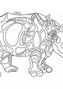 Coloriages de bâtiment et d'oeuvres d'art - Rhinocéros - Niki de Saint Phalle