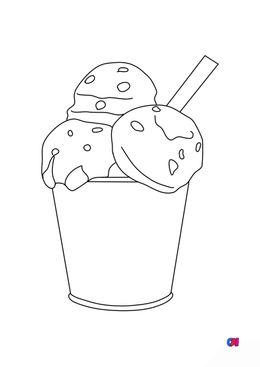 Coloriage gastronomie - Glace en pot