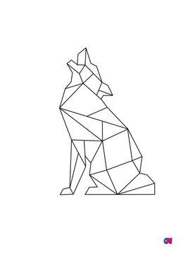 Coloriage Animaux géométriques - Loup