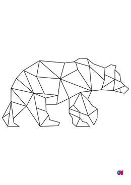 Coloriage Animaux géométriques - Ours brun