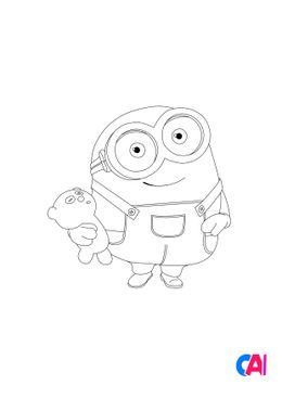 Coloriage les minions - Bob et sa peluche