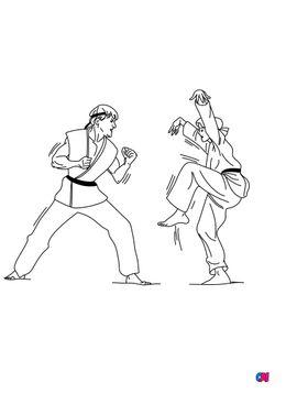 Coloriage Karaté Kid - Cobra Kai combat