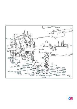 Coloriages de bâtiment et d'oeuvres d'art - Impression, soleil levant - Claude Monet