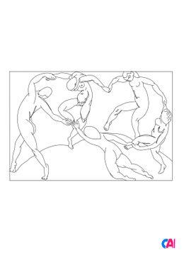 Coloriages de bâtiment et d'oeuvres d'art - La danse - Henri Matisse