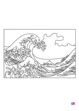 Coloriages de bâtiment et d'oeuvres d'art - La grande vague de Kanagawa d'Hokusai