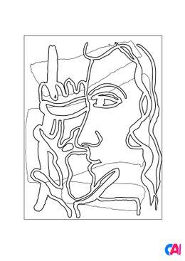 Coloriages de bâtiment et d'oeuvres d'art - Profil à la Fleur. Two Women - Fernand Léger