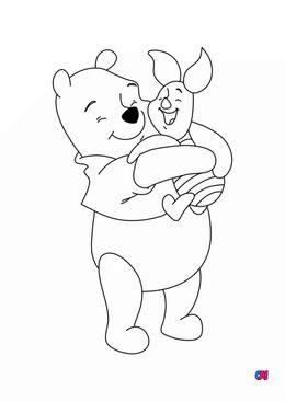 Coloriage Winnie l'ourson - Winnie l'ourson et Porcinet