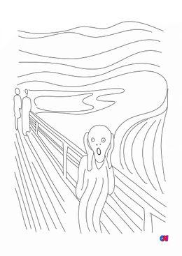 Coloriages de bâtiment et d'oeuvres d'art - Le cri Edvard Munch