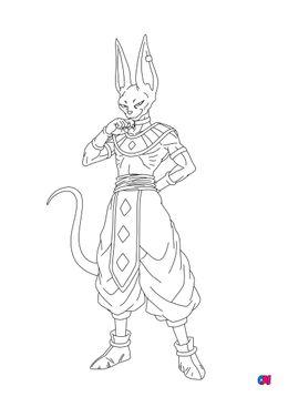 Coloriage dragon ball z - Beerus - Dieu de la destruction
