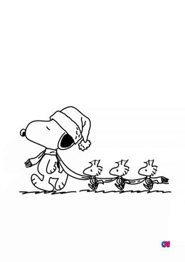 Coloriage Snoopy - Woodstock et compagnie