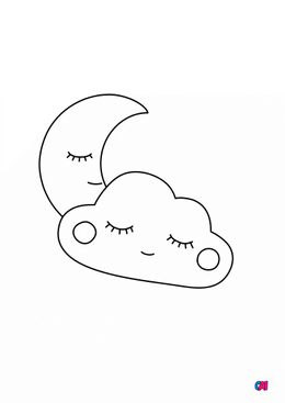 Mes premiers coloriages - Lune et nuage