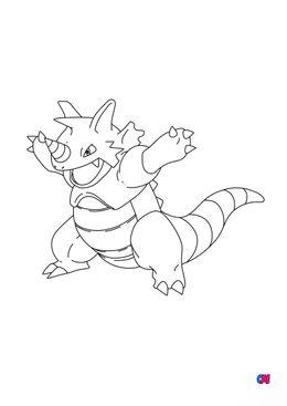 Coloriage Pokémon - 112 - Rhinoféros