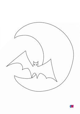 Coloriages Halloween - lune et chauve-souris