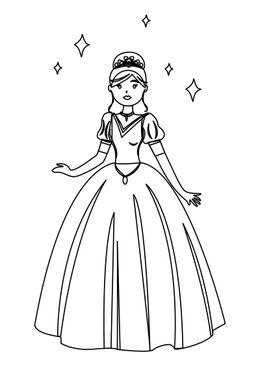 Coloriage de Princesses - princesse et étoiles