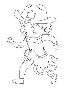 Coloriages de cowboys - Petit cowboy